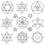 Sacred geometry symbols elements.Black outline. Sacred geometry symbols and icons.Vector outline objects.Vintage Alchemy, religion, philosophy, spirituality Royalty Free Stock Photos