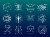 Sacred geometry symbols and elements set. 12 in 1. Alchemy, religion, philosophy, astrology and spirituality themes stock image