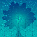 Sacred geometry symbols and elements. Tree with sacred geometry symbols and elements. Sacred mesh background. Alchemy, religion, philosophy, astrology and stock image