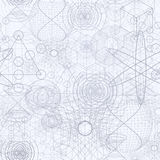 Sacred geometry symbols and elements wallpaper seamless pattern. Textile design, abstract texture, surface pattern. Alchemy, religion, philosophy, astrology Stock Image