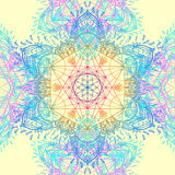 Sacred Geometry Symbols in Mandala seamless pattern. Vintage dec Royalty Free Stock Photos