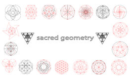 Sacred geometry symbols and signes vector illustration. Hipster tattoo. Flower of life symbol. Metatrons Cube Stock Images