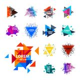 Sacred geometry triangle abstract logo figures elements mystic polygon creative triangulum vector illustration stock illustration