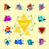 Sacred geometry triangle abstract logo figures elements mystic polygon creative triangulum vector illustration Stock Image