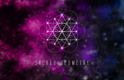 Sacred geometry vector design element on a abstract cosmic background. Royalty Free Stock Images