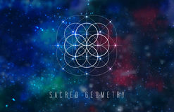 Sacred geometry vector design element on a abstract cosmic background. Royalty Free Stock Image