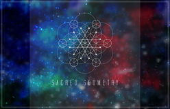 Sacred geometry vector design element. Alchemy, hipster sacred symbols on a abstract cosmic background with shining stars and color squares Royalty Free Stock Images