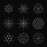 Sacred geometry vector design elements. Alchemy, religion, philosophy, spirituality, hipster symbols and elements. White line on a black background Stock Images