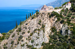 Sacred George's monastery, Athos. Orthodox Sacred George's monastery, Sacred mountain Athos, Halkidiki, Greece Royalty Free Stock Images
