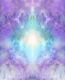 Sacred healing background. Intricate lace-like lilac and turquoise colored energy formation background Stock Photo