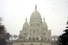 The sacred heart basilica under the snow Stock Image