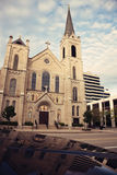 Sacred Heart Church in the center of Peoria. Illinois stock photo