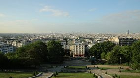 Sacred Heart cityscape. Of Paris in France, Europe. Skyline from Sacre Coeur Cathedral terrace, the highest view of Paris in the morning light with nobody stock video