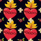 Sacred Heart, cross, rose seamless pattern old schooll tattoo style. Stock Images