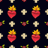 Sacred Heart, cross, rose seamless pattern  Stock Photo
