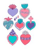 Sacred heart  icons doodle set. Sacred heart  set. Doodle illustration of hand drawn saint flaming hearts with plants, flowers, cross and blood drops Royalty Free Stock Photo