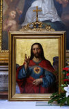 Sacred heart of Jesus. Painting in the St Nicholas Cathedral in Ljubljana, Slovenia stock image