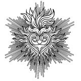 Sacred Heart of Jesus with rays. Vector illustration black isola Stock Images