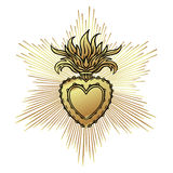 Sacred Heart of Jesus with rays. Vector illustration black isola Stock Image