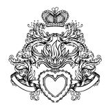 Sacred Heart of Jesus with rays. Vector illustration black isola Royalty Free Stock Images