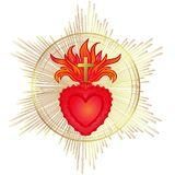 Sacred Heart of Jesus with rays. Vector illustration in red and. Gold isolated. Trendy Vintage style element. Spirituality, religion, Catholicism, Christianity Royalty Free Stock Photo