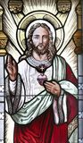 The Sacred Heart of Jesus in Stained Glass. Jesus Christ and it`s holy heart Stock Photos