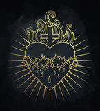 Sacred Heart of Jesus. Vector illustration in gold colors isolat Stock Images