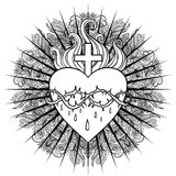 Sacred Heart of Jesus. Vector illustration isolated on white ove Stock Photos