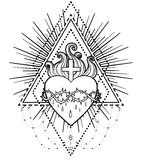 Sacred Heart of Jesus. Vector illustration isolated on white ove Stock Image