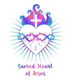 Sacred Heart of Jesus. Vector illustration in vivid colors isola Stock Photography