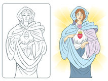 Sacred Heart of Mary vector illustration