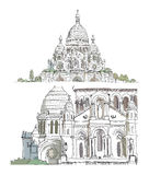 Sacred Heart in Montmartre, Paris Sketch Stock Photo