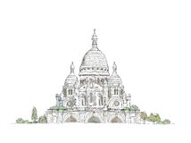 Sacred Heart in Montmartre, Paris Sketch Royalty Free Stock Photos