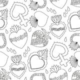 Sacred heart  seamless pattern. Doodle illustration of hand drawn saint flaming heart isolated on the white background, black and white surface design Royalty Free Stock Photography