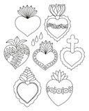 Sacred heart doodle  set. Sacred heart  set. Doodle illustration of hand drawn saint flaming hearts with plants, flowers, cross and blood drops Stock Photo