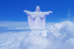 The Sacred Heart statues over cloudy sky Royalty Free Stock Image
