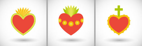 Sacred hearts flat  icons Royalty Free Stock Photos