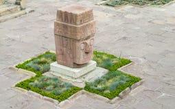 Sacred idol statue from Tiwanaku royalty free stock photography