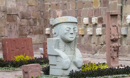 Sacred idol from Tiwanaku. Ancient idol statues, sculptures from Tiwanaku inca archaeological site on the square in La Paz, Bolivia Stock Photo