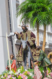 Sacred imagery of Jesus Christ in Valladolid Holly week. Sacred imagery in Valladolid's holy week procession. The Triumphal Entry of Jesus into Jerusalem also Royalty Free Stock Photo