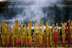 Sacred incense in a buddhist temple royalty free stock photos