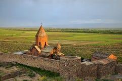 Sacred Khor Virap Monastery. The Khor Virap (Armenian: Ô½Õ¸Ö€ ÕŽÕ«Ö€Õ¡Õº, meaning deep pit or deep well) is an Armenian Apostolic Church royalty free stock photography