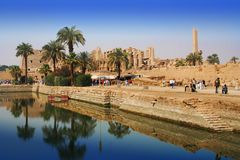 Sacred lake of Karnak. Sacred lake in Temple of Karnak, Egypt royalty free stock images