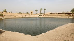 Sacred Lake in Karnak Temple, Luxor, Egypt. Sacred Lake in Karnak Temple, Luxor City, Egypt stock photo