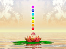 Sacred Lotus And Chakra Spheres. Illustration of a sacred lotus and chakra spheres Stock Photos