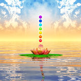 Sacred Lotus And Chakra Spheres. Illustration of a sacred lotus and chakra spheres Royalty Free Stock Photography