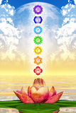 Sacred Lotus And Chakras Stock Photos
