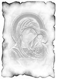 The sacred manuscript. Ancient sheet of a paper. Background is similarity of the image on an icon. On a paper there are blots from ink Stock Photos