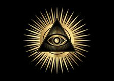 Free Sacred Masonic Symbol. Gold All Seeing Eye, The Third Eye The Eye Of Providence Inside Triangle Pyramid. New World Order Royalty Free Stock Image - 137443726
