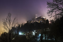 Sacred Mount of Varese in the mist Stock Photography